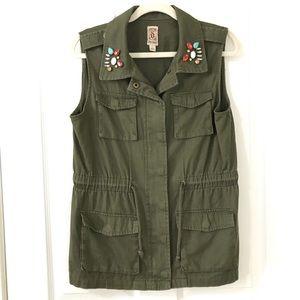 Decree Army Green Utility Vest Jewelled Zip Large